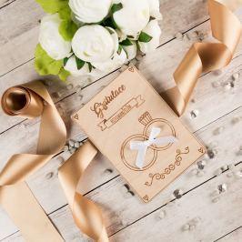 Dřevěné svatební přání - Gratulace novomanželům