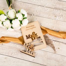 Dřevěné svatební přání - Hodně štěstí novomanželům, Mr & Mrs