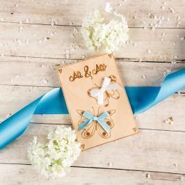 Dřevěné svatební přání - Mr & Mrs, s motýlky