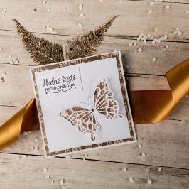 """Svatební přání """"Hodně štěstí novomanželům"""", krémové s motýlem"""