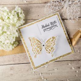"""Svatební přání """"Hodně štěstí novomanželům"""", zlaté s motýlem"""