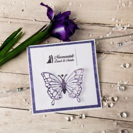 """Svatební přání """"Ženich a nevěsta"""", fialové s motýlem"""