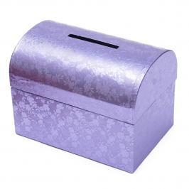 Svatební truhla fialová - malá Vyberte si design truhly: fialové květiny