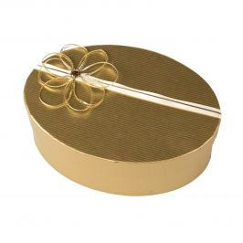 Zdobená krabice na zabalení dárku - oválná zlatá