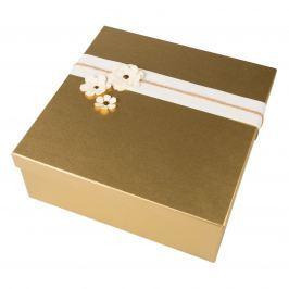 Zdobená krabice na zabalení dárku - zlatá natur