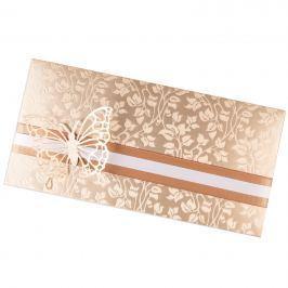 Zdobené dárkové obálky na poukazy DL Vyberte si barvu a dekoraci: krémová s motýlkem