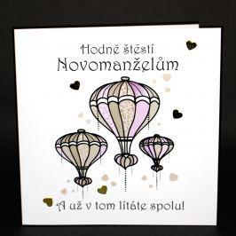 Ručně zdobené přání Mozaika - Hodně štěstí novomanželům
