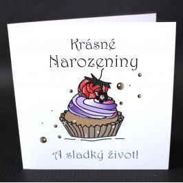 Ručně zdobené přání Mozaika - Krásné narozeniny