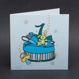 Ručně zdobené přání Mozaika - pro kluky k prvním narozeninám