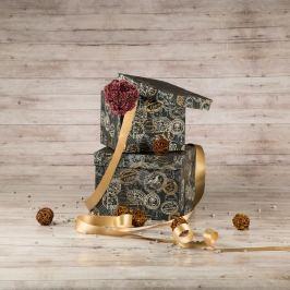 Dárková krabice Zina, šedá, vzor razítka