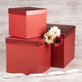 Dárková krabice Tom 3, červená srdíčka - 28x28x28 cm