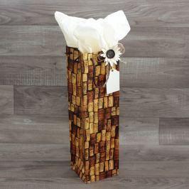 Dárková taška na víno, korek druh: taška s hedvábným papírem, dekorací a jmenovkou Na zdraví