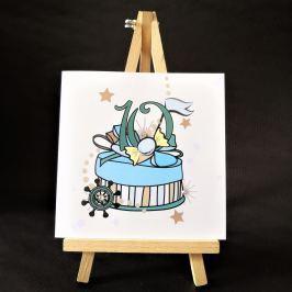 Ručně zdobené přání Mozaika - pro kluky k 10. narozeninám