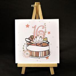 Ručně zdobené přání Mozaika - pro slečny k 16. narozeninám