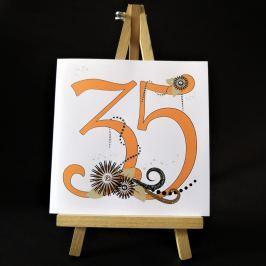 Ručně zdobené přání Mozaika - pro ženy k 35. narozeninám