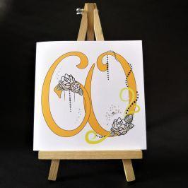 Ručně zdobené přání Mozaika - pro ženy k 60. narozeninám
