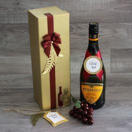 Zdobená krabice na lahev Simona - zlatá
