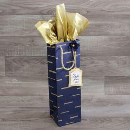 Dárková taška na lahev - modrá druh: taška s hedvábným papírem, dekorací a jmenovkou Zraješ jako víno