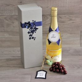 Zdobená krabice na lahev Simona - stříbrná