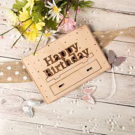 Dřevěné přání - Happy birthday
