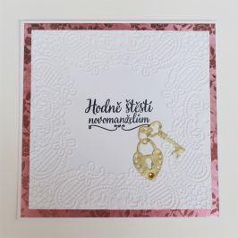 Svatební přání, hodně štěstí novomanželům, růžové