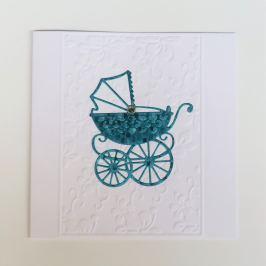 Přání k narození miminka, kočárek, modré
