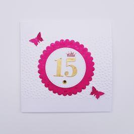 Přání s číslicí 15, růžové